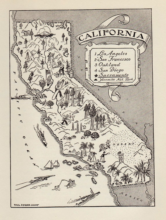 Vintage San Diego Map.50 S Vintage California Picture Map Print State Map Etsy