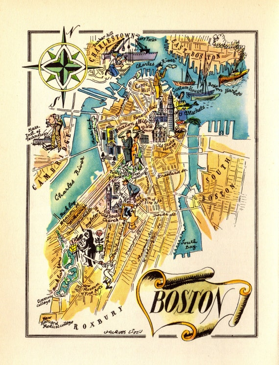 Boston Map Historical Sites.1940 S Animated Boston City Map Cartoon Map Of Boston Etsy