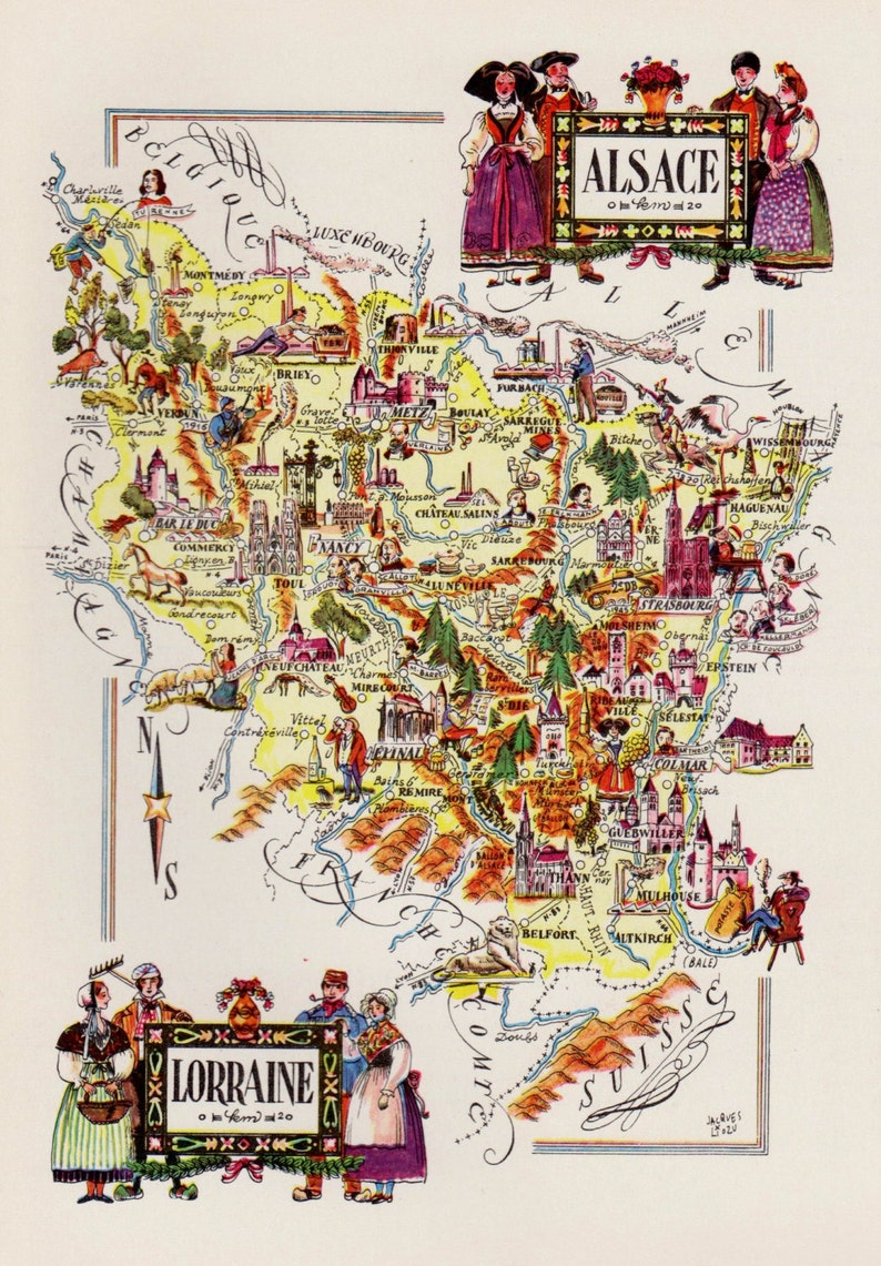 Map Of France Cartoon.Vintage France Picture Map Of France Reprint Alsace Lorraine Etsy