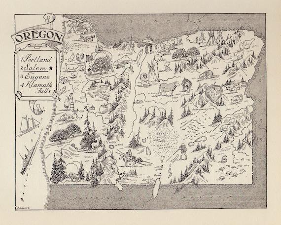 Vintage Oregon Map.50 S Vintage Oregon Picture Map Pictorial Oregon State Map Etsy