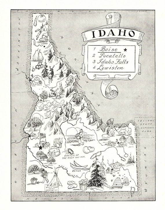 1950 s idaho picture map of idaho state map cartoon map etsy etsy