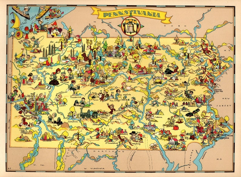 1930 S Vintage Pennsylvania State Map Cartoon Picture Map Etsy