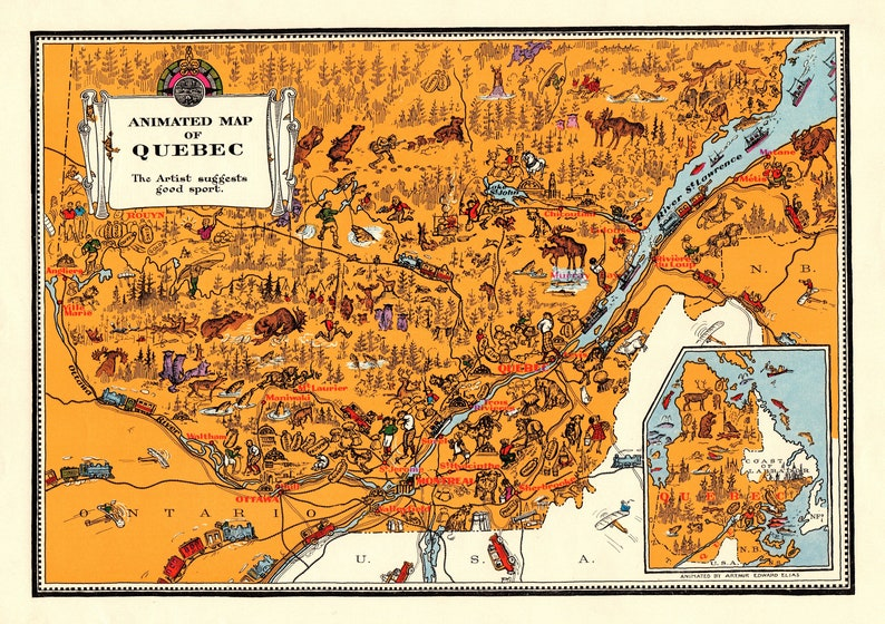 1930's Vintage QUEBEC Canada Picture Map Reprint Animated   Etsy on