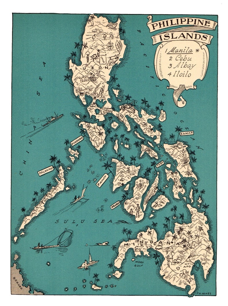 1930\'s Animated PHILIPPINES Map RARE Map Print of The Philippine Islands  Wall Art Decor Anniversary Gift For Wedding Birthday Vacation