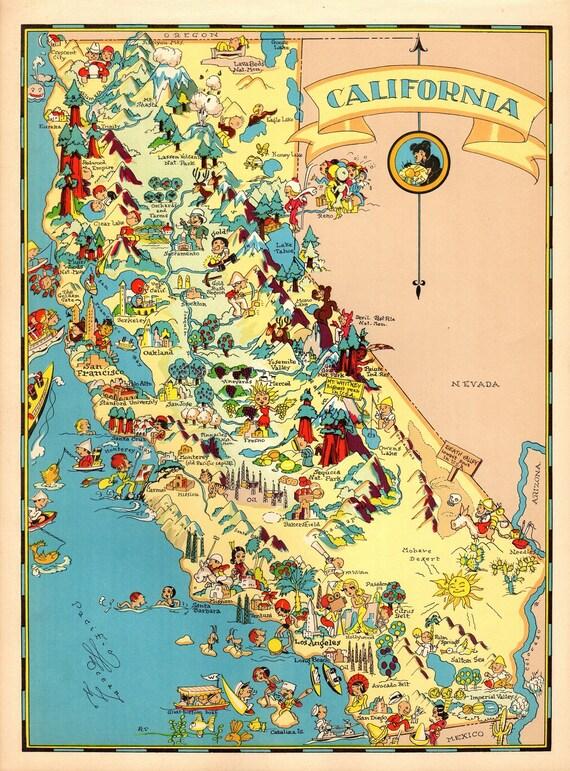1930's Vintage California State Map Cartoon Map Print Gallery Wall on illinois map fun, illinois rt 66 map, illinois map 3d, illinois map western, illinois map book, illinois map outline, illinois map logo, illinois postcard, illinois map funny, illinois usa, illinois map crime, illinois map coloring page, illinois map joke, illinois map drawing, illinois on america, illinois black and white clip art, illinois map black, illinois map vintage, midwest cartoon, illinois map painting,