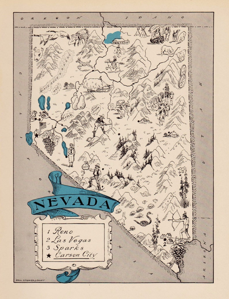 30s Vintage NEVADA Picture Map Pictorial State Cartoon