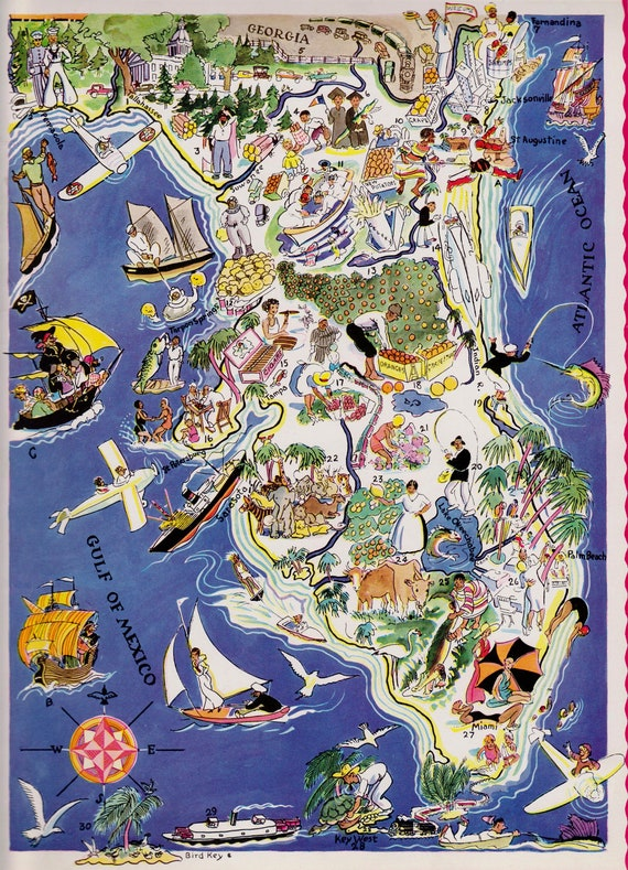 1930's Vintage FLORIDA Cartoon Map State Picture Map Print Gallery on