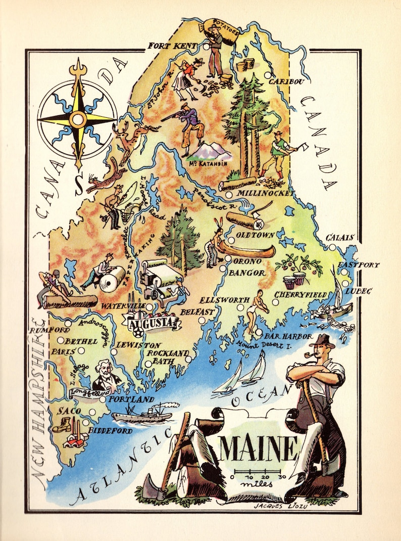 photo regarding Printable Map of Maine identified as 1940s Animated MAINE Map Nation Map of Maine Print Cartoon Map Wall Artwork Map Anniversary Reward for Trainer Wedding day Birthday Holiday vacation lizmap