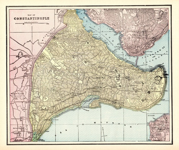 1895 Antique CONSTANTINOPLE CITY Map Istanbul Map Reproduction Print of  Constantinople Gift for Christmas Birthday Wedding Anniversary