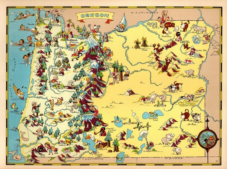 1930 es Vintage Oregon State Map Print Gallery Wall Art Kids | Etsy