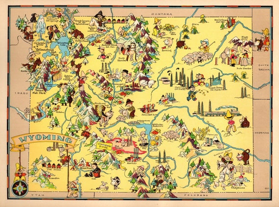 1930's Vintage Wyoming State Map Cartoon Map Print Gallery Wall Art on illinois map fun, illinois rt 66 map, illinois map 3d, illinois map western, illinois map book, illinois map outline, illinois map logo, illinois postcard, illinois map funny, illinois usa, illinois map crime, illinois map coloring page, illinois map joke, illinois map drawing, illinois on america, illinois black and white clip art, illinois map black, illinois map vintage, midwest cartoon, illinois map painting,