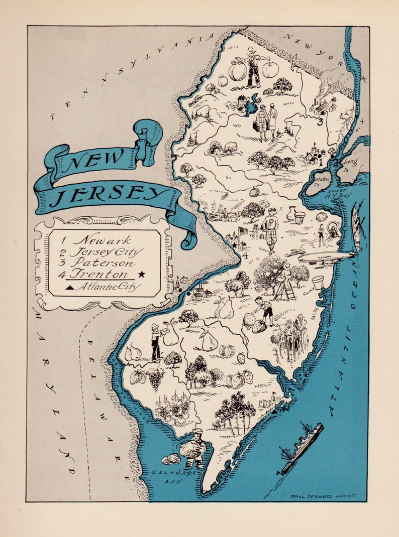 30\'s Antique NEW JERSEY State Map Animated New Jersey | Etsy