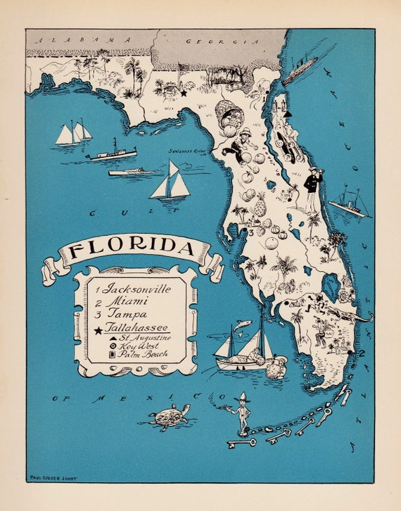 Flordia State Map.30 S Vintage Animated Florida State Map Of Florida Cartoon Etsy