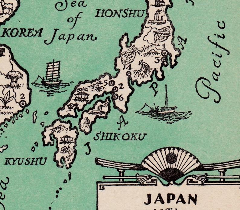 Pictorial Vintage JAPAN Map of Japan Print Korea Map 1940s | Etsy