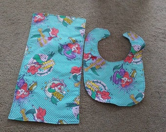 Little mermaid bib and burp cloth set