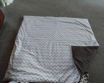 Gray chevron striped blanket