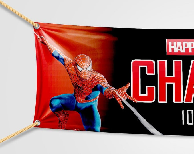 Spiderman Birthday Banner Personalised for your event.  Childs party. Adults Party.