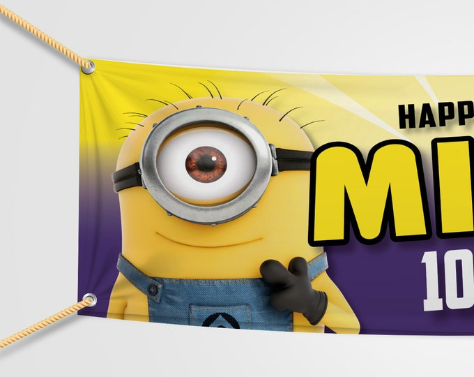 Minions Birthday Banner Personalised for your event.  Childs party. Adults Party.