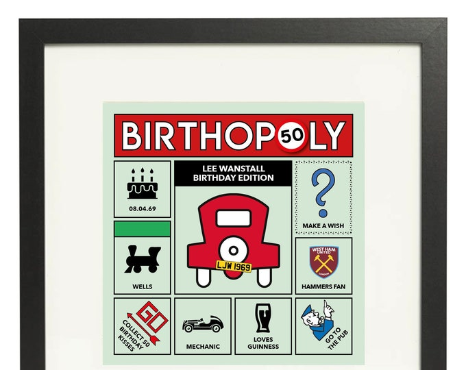 50th Birthday Gift - personalised game board design. Monopoly style print. Framed or Canvas (other ages available)