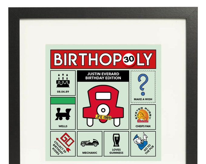 30th Birthday Gift - personalised game board design. Monopoly style print. Framed or Canvas (other ages available)