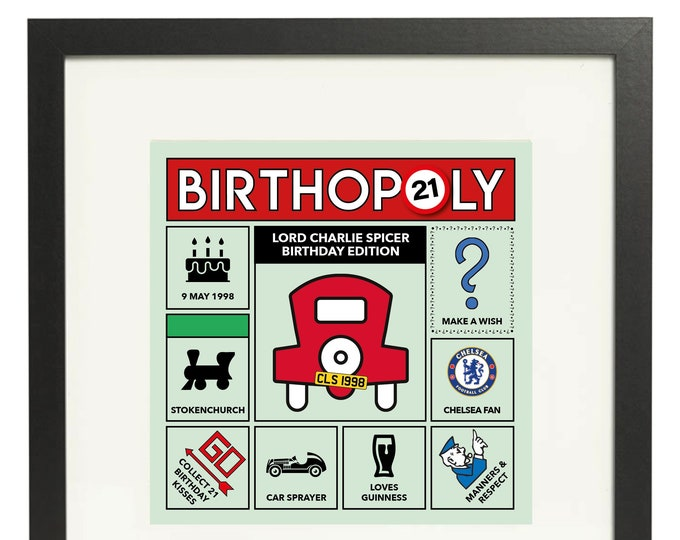 21st Birthday Gift - personalised game board design. Monopoly style print. Framed or Canvas (other ages available)