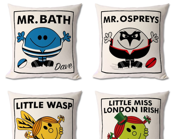 Featured listing image: Personalised Rugby Cushion (any team)