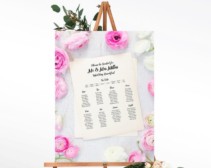 Wedding Table Plan with Peony Flower Design