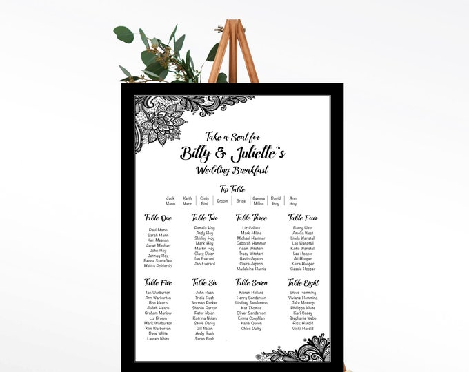Wedding Table Plan with Lace edge detail - any colour