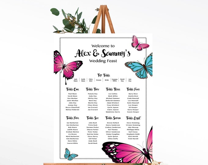 Table Plan with Butterfly Design