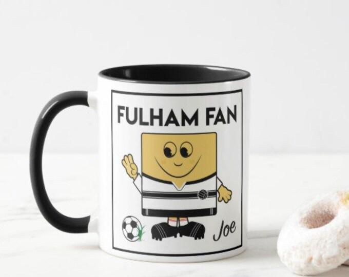 Personalised Football Mug. Fulham Fan. Male & Female Versions.