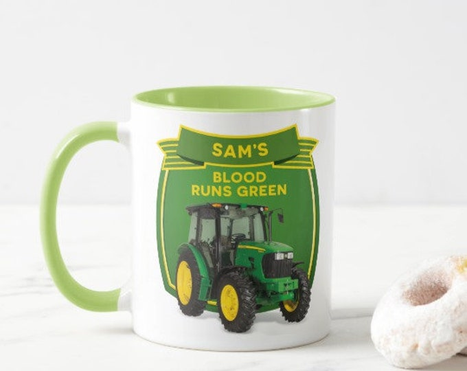 Personalised Tractor Mug. Choice of colours. Blood Runs Green. Blood Runs Blue. Blood Runs Red. Ideal Tractor Drivers gift.