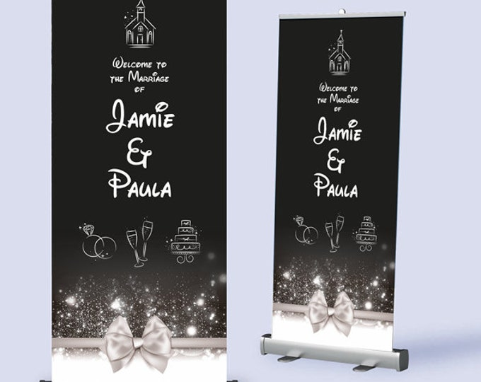 Welcome Banner.  Wedding Pull Up Banner with Ribbon design.  Any wording / colours to match your theme.