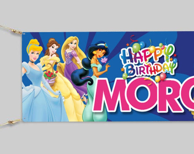 Princess Birthday Banner Personalised for your event.  Childs party. Adults Party.