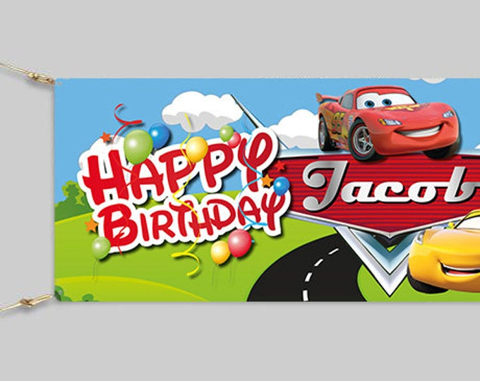 Cars Birthday Banner Personalised for your event.  Childs party. Adults Party.