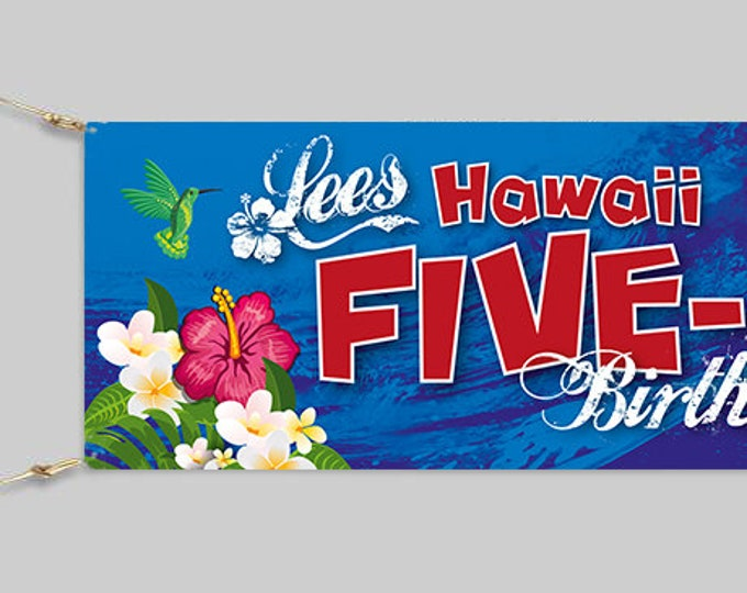Personalised 50th Birthday Banner.  Hawaii Five-0/Hawii 50. Surf Banner (design can be altered)
