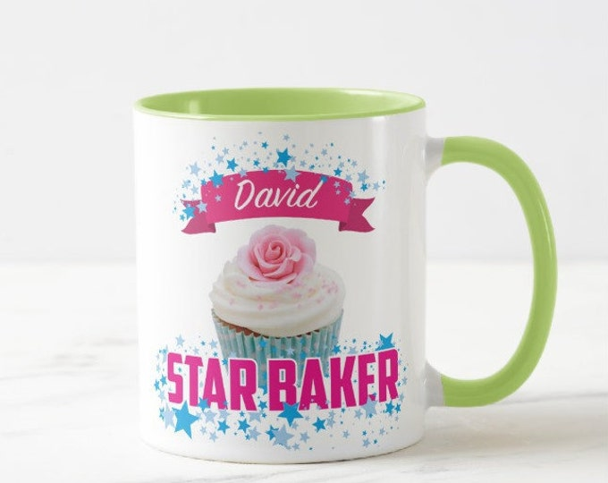 Personalised Star Baker Mug - Add any name / Choice of Colours / Choice of Cake Styles