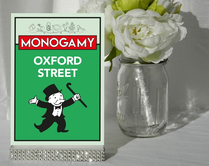 Monopoly Style Table Numbers. Monopoly Wedding Table Numbers. Table Numbers. Table Names