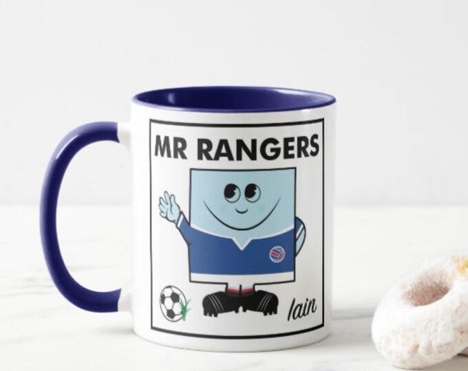 Personalised Football Mug. MR RANGERS. Male & Female Versions.