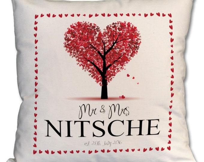 Personalised Heart design Wedding Cushion / Valentines / Anniversary / Engagement. Zipped cover and cushion included