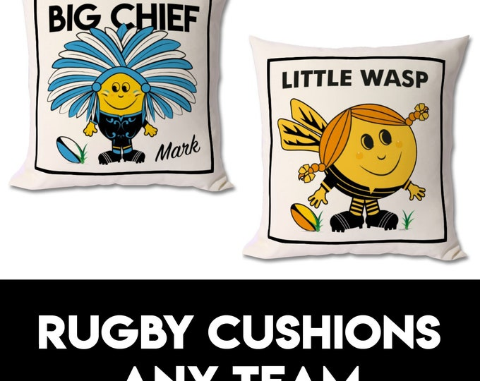 Personalised Rugby Cushion (any team)