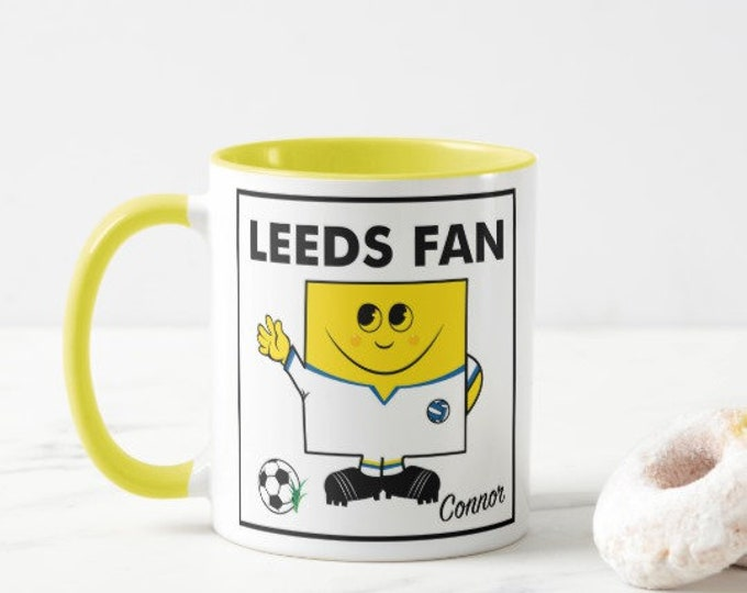 Personalised Football Mug. MR LEEDS. Male & Female Versions.