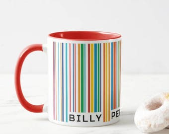 Personalised Unique Barcode Mug.  Each Barcode is unique to the wording at the bottom.