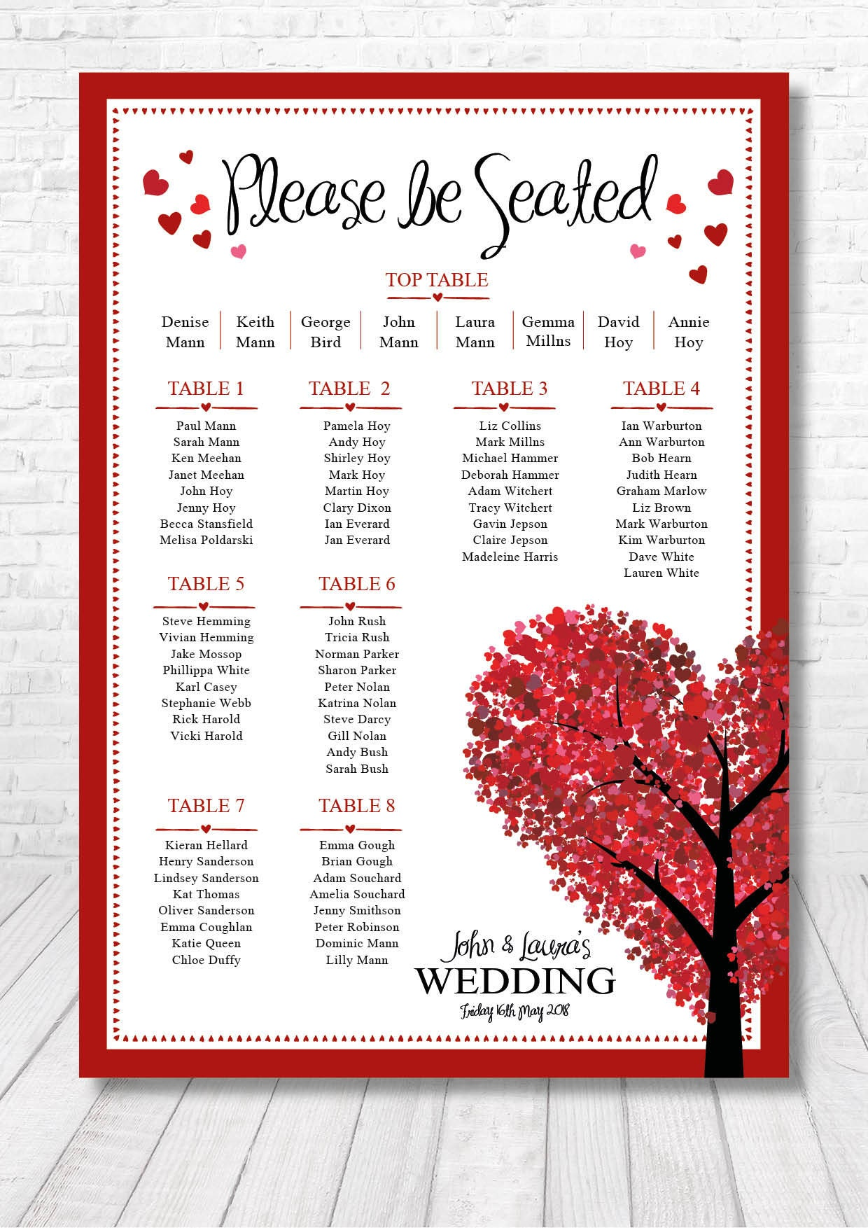 Heart Table Plan / Heart Seating Plan / Wedding Table Plan | Etsy