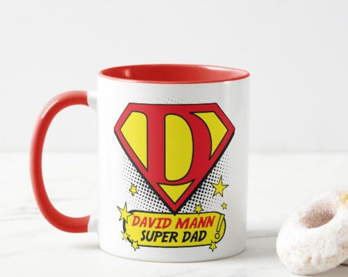 Featured listing image: Super Dad.  Personalised Mug.  Choice of Colours.