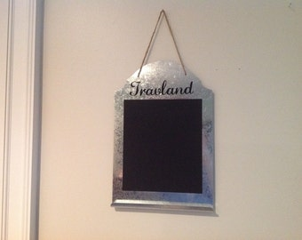 Personalized Metal and Chalkboard Message Board