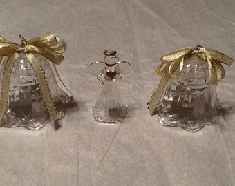 Vintage, clear plastic bells and glass aungel ornaments, 1960-1970,