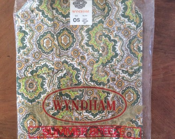 MIB 1970's Vintage Mens Cotton Summer Shortie Pajamas Pyjamas Pjs Made in New Zealand by Wyndham OS