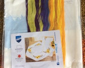 Vervaco kit square table cloth stamped for Cross Stitch Embroidery 32 including thread SunFlowers