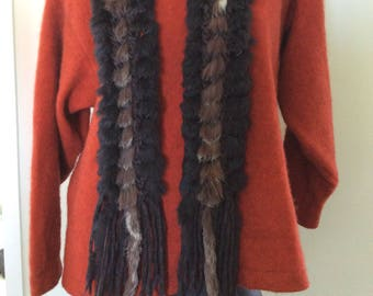 Unique New Zealand Possum fur and natural spun  wool Macrame scarf