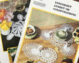 Crochet and Knitting Twilleys leaflet patterns for Lampshades Cushions and waste paper bin In Lyscordet or Goldfingering